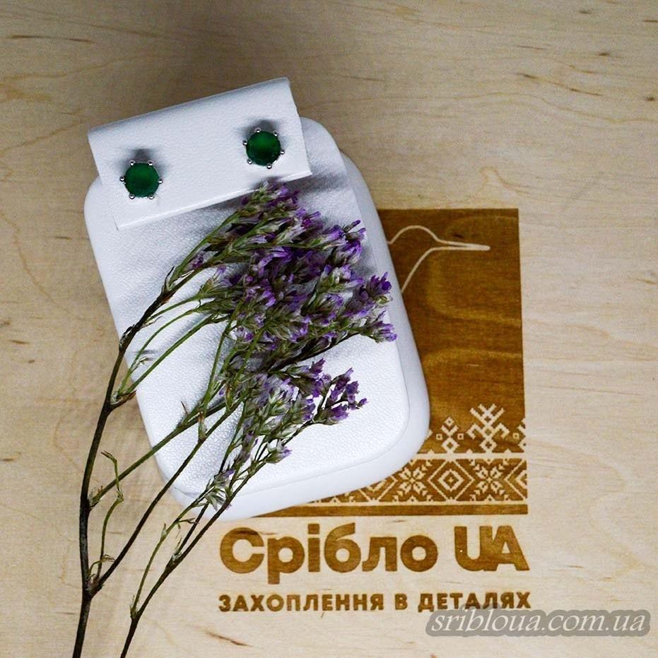 Серебряные серьги-гвоздики вставка агат (арт. 20355/9)
