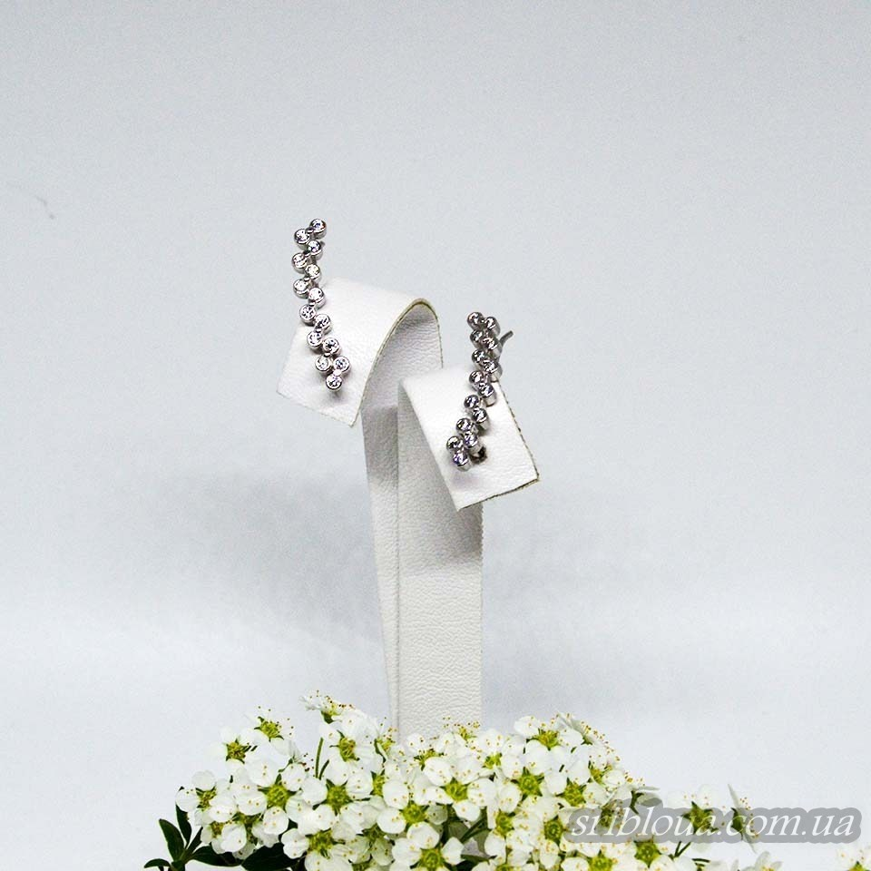 Серебряные серьги-каффы со вставками фианитов (арт. 420669)