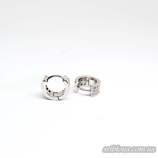 Серебряные круглые серьги, вставка белый фианит (арт. 420606)