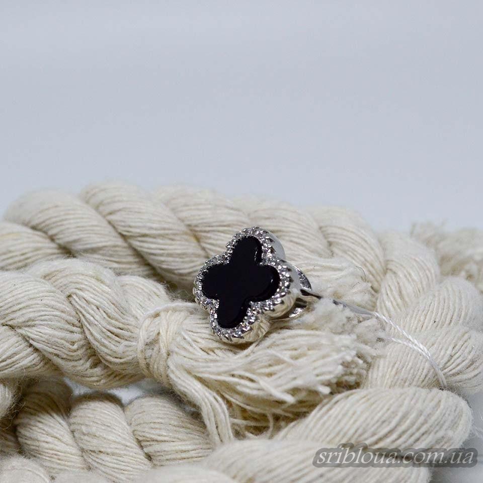 Серебряное кольцо со вставкой черного оникса Клевер (арт. 410530)