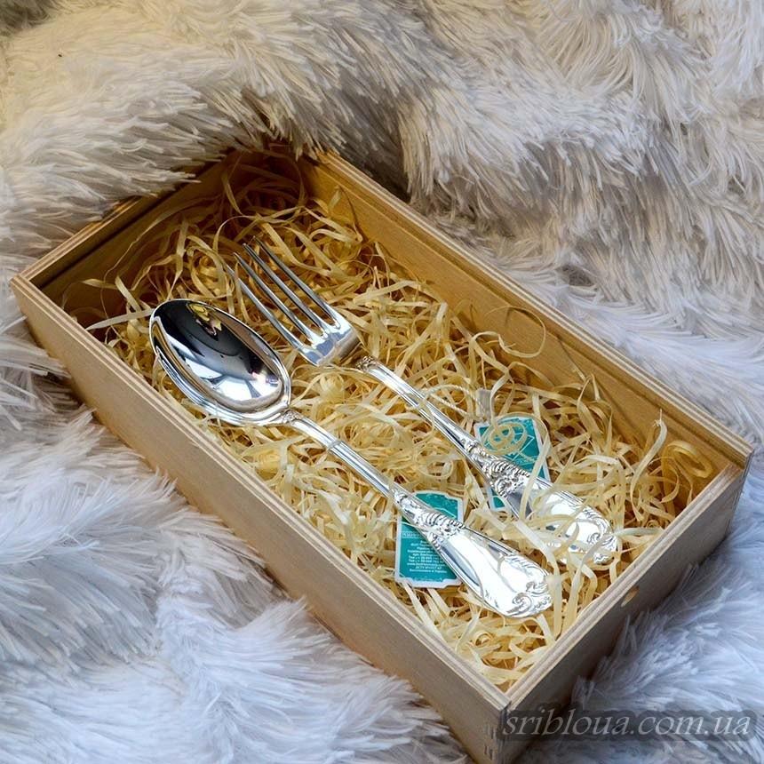 """Набор десертных серебряных приборов """"Волна"""" (арт.2.95.0110nab)"""