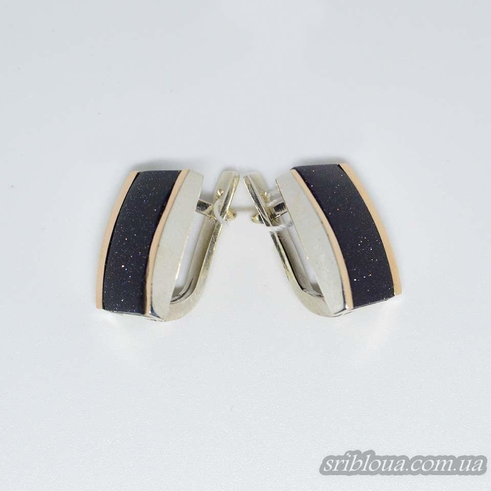 Серебряные сережки с позолотой со вставками Авантюр (арт. 260700)
