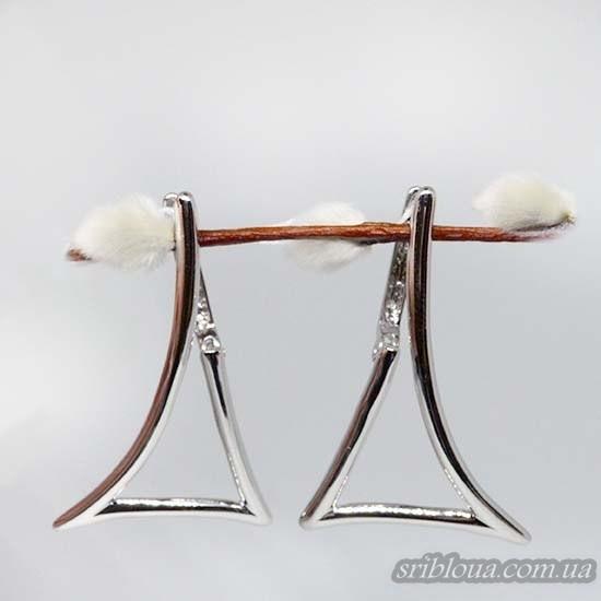 Серебряные сережки без вставок (арт. 400085C)
