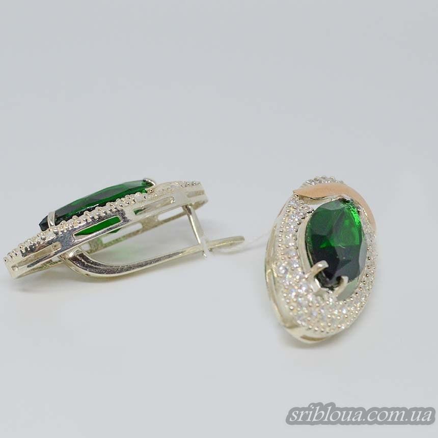 Серебряные сережки с позолотой  и зелеными цирконами (арт. 794900)