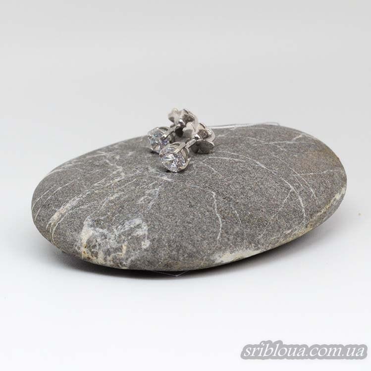 Серебряные серьги-гвоздики с фианитом (арт. 20038/8)