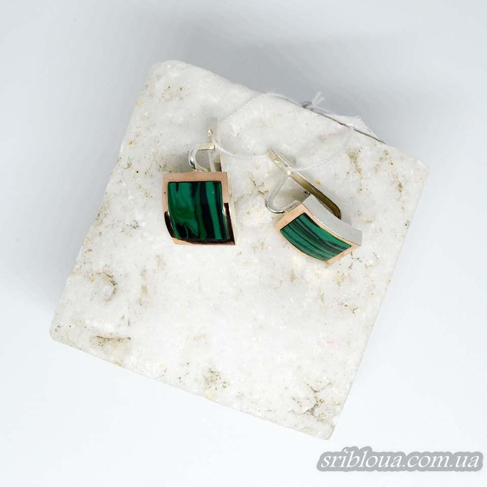 Серебряные сережки с позолотой, вставки малахит (арт. 783700)
