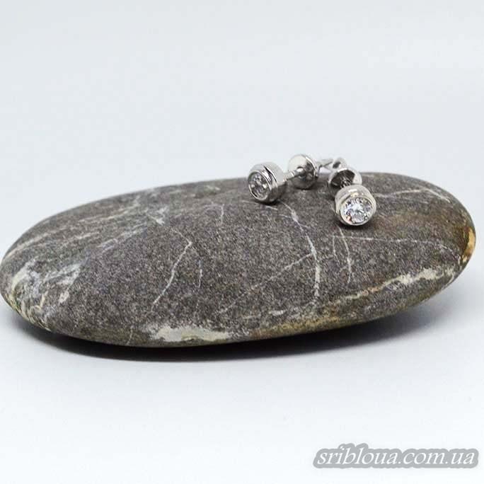 Серебряные серьги-гвоздики с фианитом (арт. 20317/9)