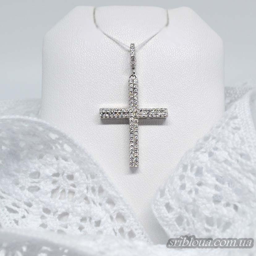 Серебряный крестик-подвес с россыпью фианитов (арт. 430446)