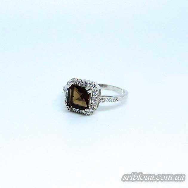 Серебряное кольцо вставка дымчастый кварц (арт. 10033)