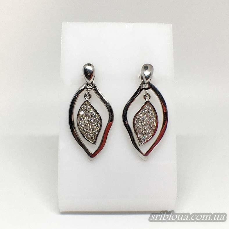 Серебряные серьги Лепесток (арт. 420109)