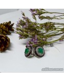 Серебряные элегантные серьги, вставка зеленый агат  (арт. 20324 агат)