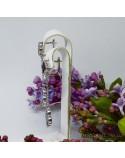 Серебряные длинные серьги, вставка черный оникс (арт. 420676)