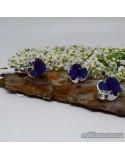 Серебряные элегантные серьги, вставка нано-сапфира (арт. 20007)