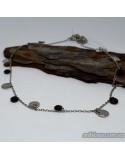Серебряная якорная цепочка с подвесами и вставками оникса (арт. 450065)