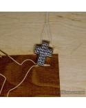 Серебряный крестик-подвес со вставкой мини фианитов (арт. 30187)
