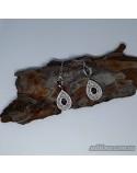 Серебряные длинные серьги, вставка красный гранат (арт. 420435)