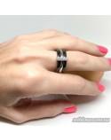 Серебряное кольцо, вставка черная керамика (арт. 1629ч065)