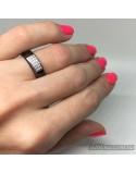 Серебряное кольцо, вставка черная керамика (арт. 1629ч034)