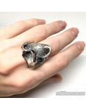 Серебряное оригинальное кольцо с чернением (арт. 93516)