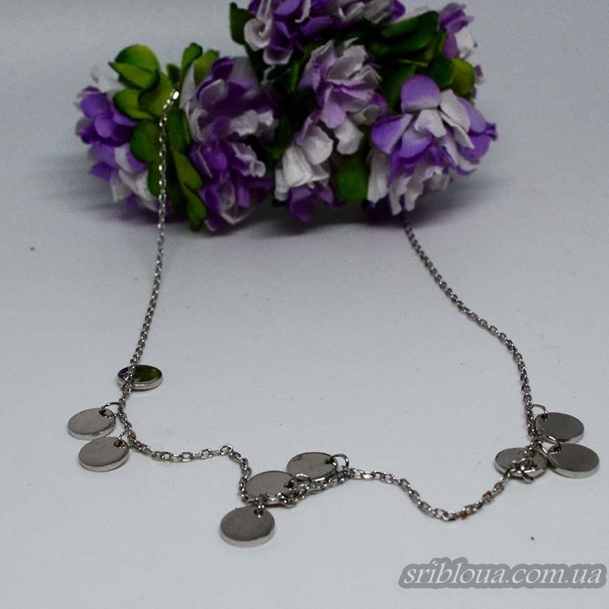 Серебряная якорная цепочка с подвесами и вставками фианитов (арт. 450063)