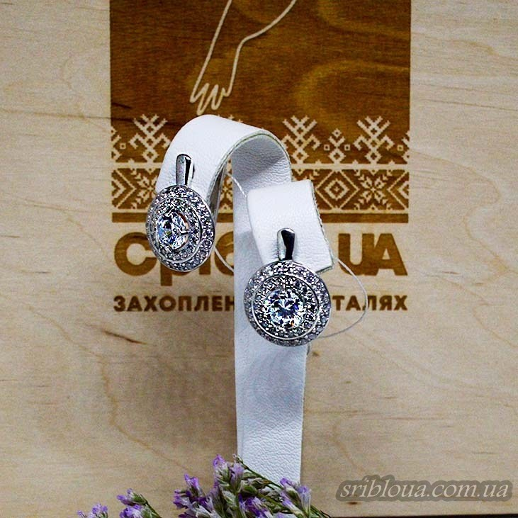 Серебряные элегантные серьги, вставка белые фианиты  (арт. 20324 фиан)