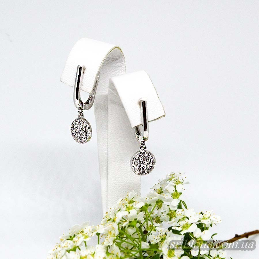 Серебряные серьги с россыпью фианитов (арт. 420614)