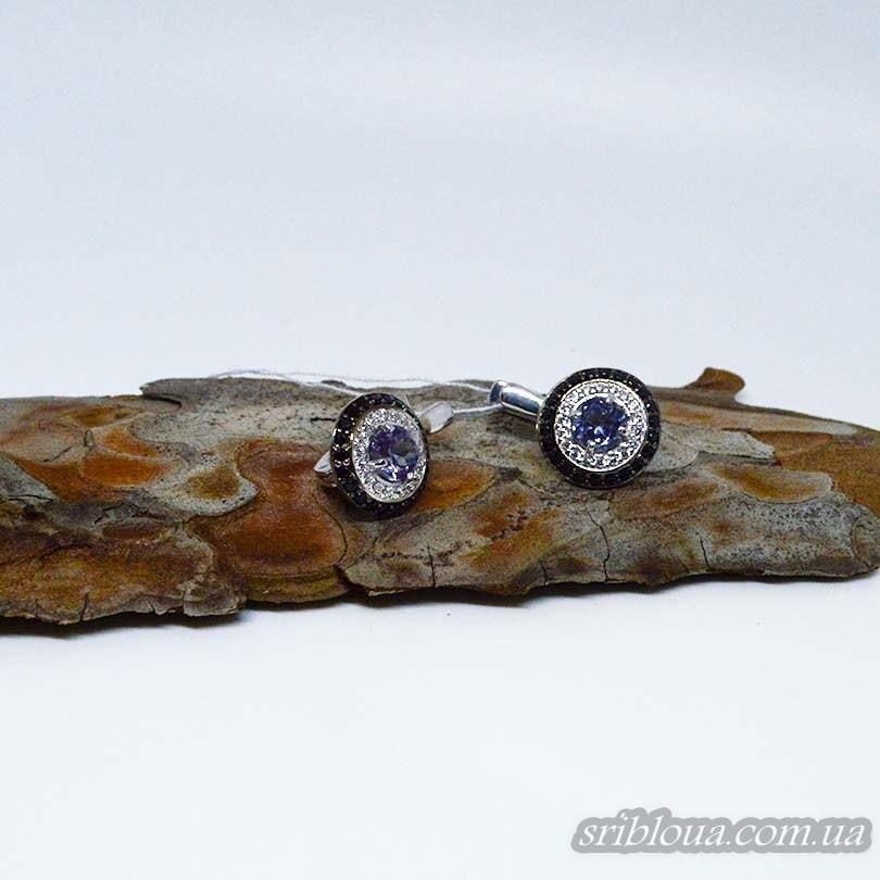 Серебряные элегантные серьги, вставка александрит (арт. 20324 алекс)