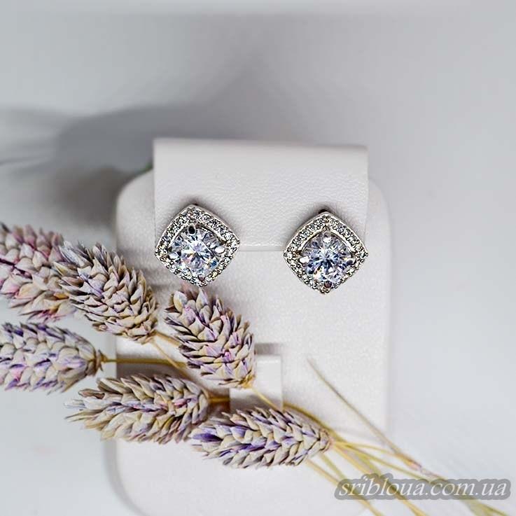 Серебряные серьги, вставка белый фианит (арт. 20046)