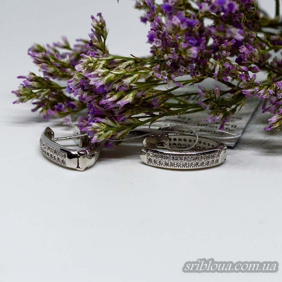 Серебряные круглые серьги с фианитами (арт. 420605)