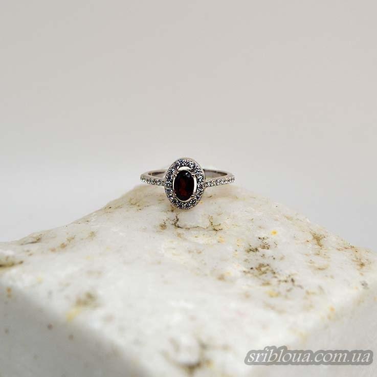 Серебряное кольцо со вставкой красного граната (арт. 10019)