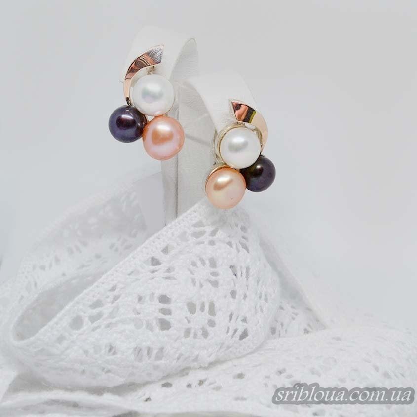 Серебряные сережки с позолотой со вставками жемчугов (арт. 425700)