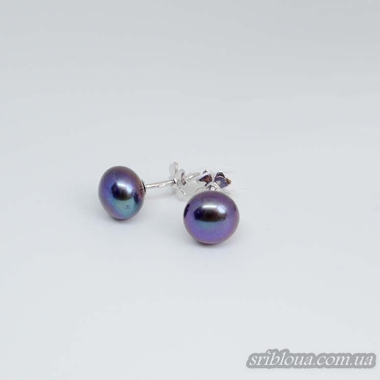 Серебряные серьги-гвоздики с жемчугом (арт. 20095.9ч)