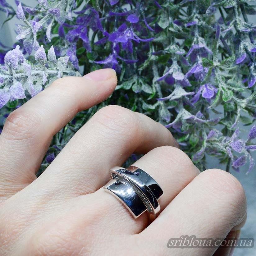 Серебряное стильное кольцо без вставок  (арт. 310097C)