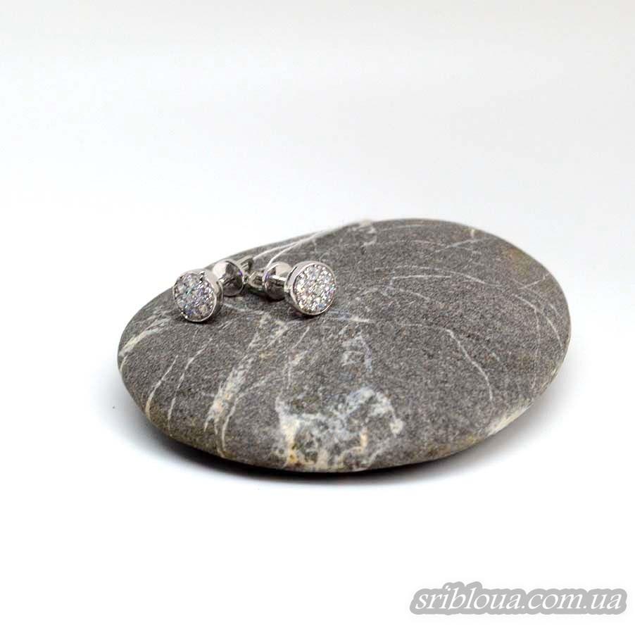 Серебряные серьги-гвоздики с фианитами в виде цветочка (арт. 20334/9)