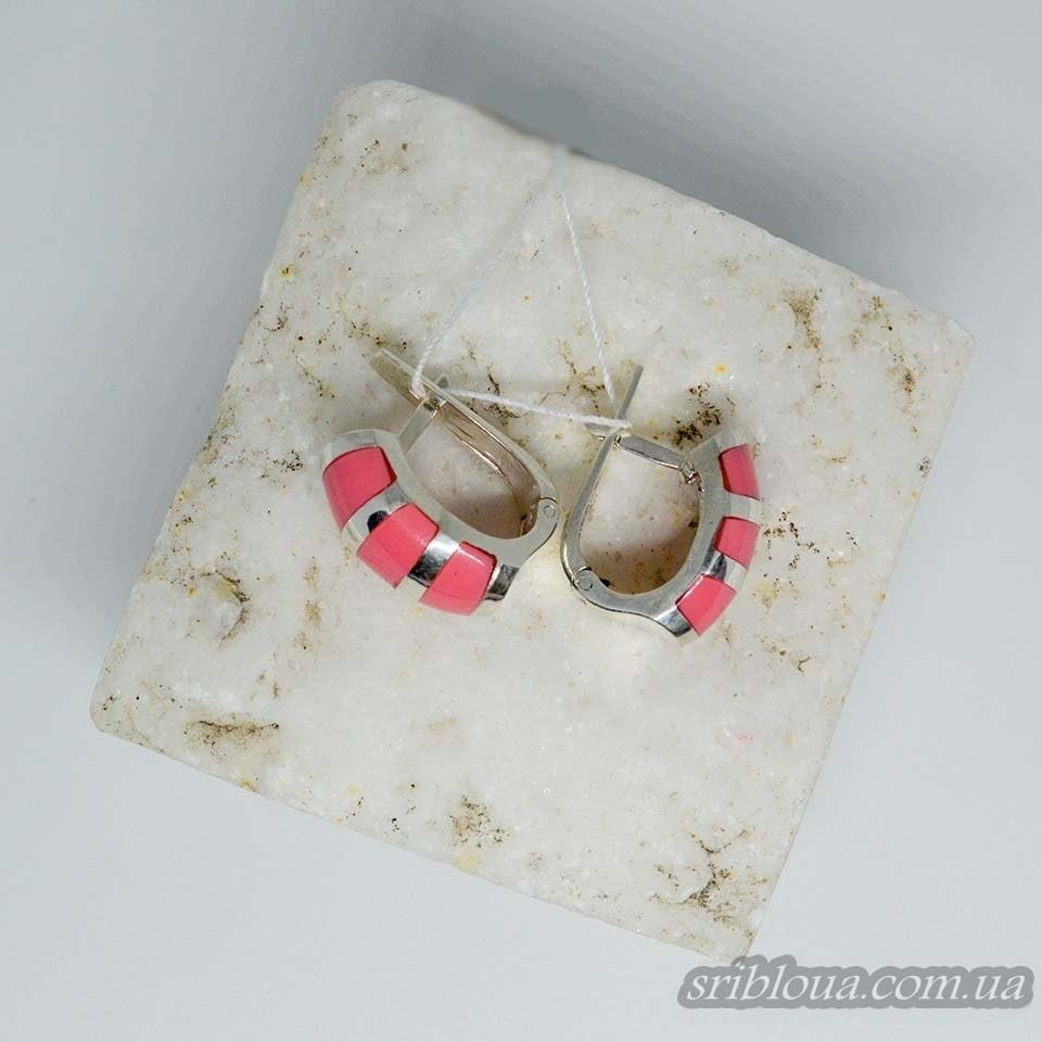 Серебряные сережки со вставками кораллов (арт. 2002550)