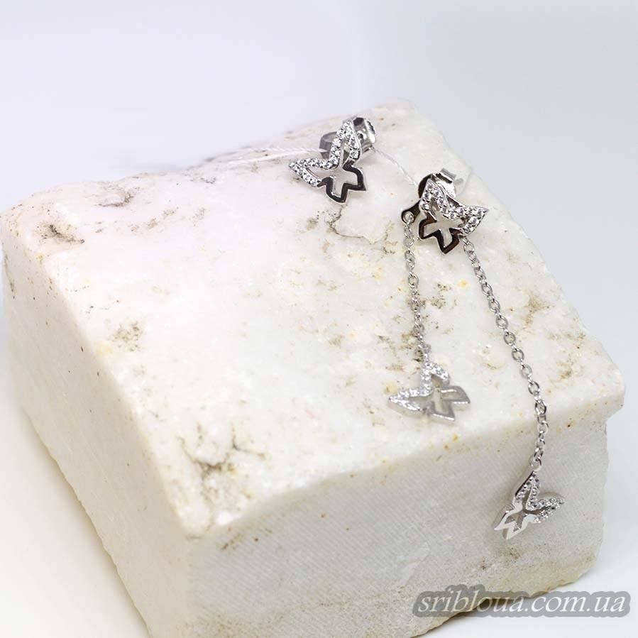 Серебряные серьги - подвесы Бабочки с фианитами (арт. 420671)