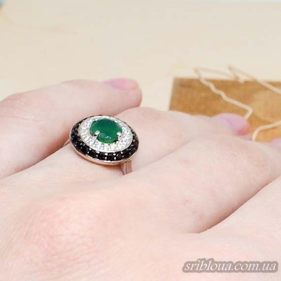 Серебряное кольцо, вставка зеленый агат (арт. 10324)