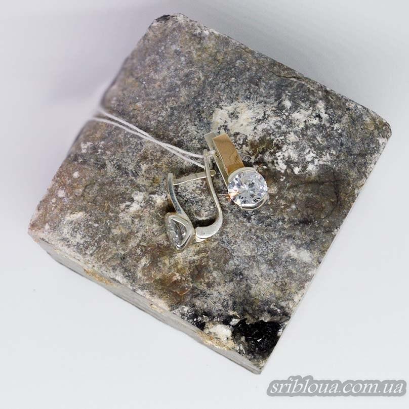 Серебряные сережки с позолотой со вставками циркония (арт. 388520)
