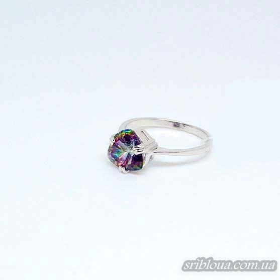 Серебряное кольцо со вставкой мистик кварц (арт. 10054)