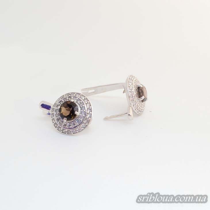 Серебряные элегантные серьги, вставка дымчастый кварц  (арт. 20324 кварц)