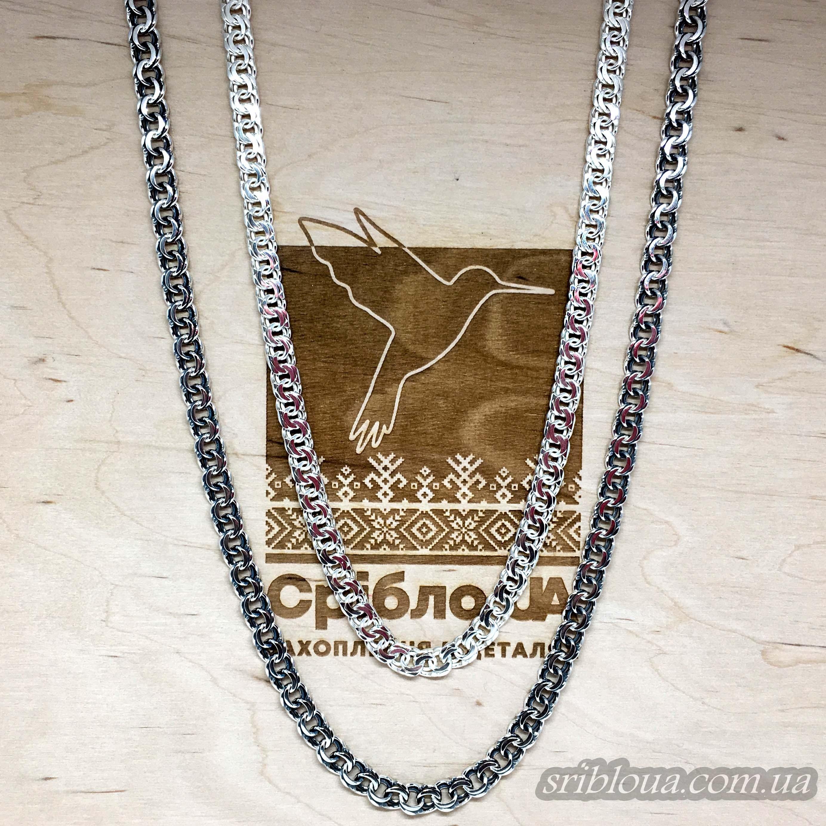 Серебряная мужская цепочка, плоский бисмарк (арт. 6007/26 бел)