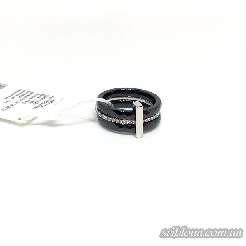 Серебряное кольцо, вставка черная керамика (арт. 1629ч028а)