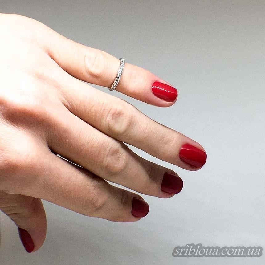 Серебряное фаланговое кольцо с фианитами (арт. 10142)