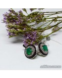 Срібні елегантні сережки, вставка зелений агат (арт. 20324 агат)