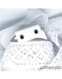 Срібні сережки-цвяшки з вставками смарагдів (арт. 20036/9)