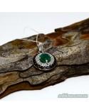 Срібний підвіс з вставкою зеленого агата (арт. 30324)