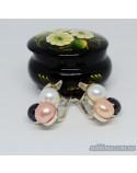 Срібні сережки з позолотою та вставками перлин (арт. 425700)