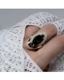 Срібне кільце з позолотою та зеленим цирконієм  (арт. 794600)